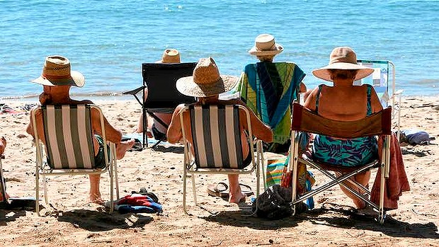 Retirees at beach