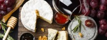 Selection of wine and cheeses
