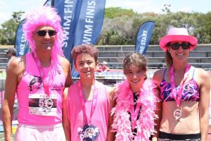 Family all in pink at triathlon pink
